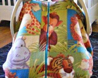 Fleece Baby Car Seat Carrier Canopy Cover Jungle/Safari (fitted)