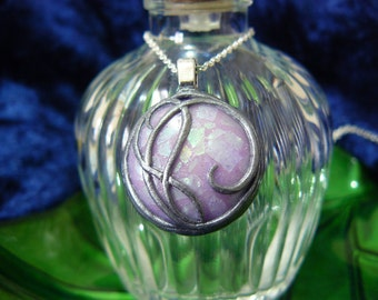 Glow in the Dark Polymer Clay Opalescent Purple Pendant with Silver