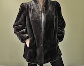 Vintage 1980's Gray Coat - 80's Plush Jacket - Faux Fur - Club Clothing - Jordache - Extral Large Coat - Price Reduced