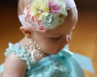 Pastel Me About It - Spring Headband, Easter Pastel Rainbow Baby Headband, Shabby chic Chiffon and Rosette Headband. Toddler Headband