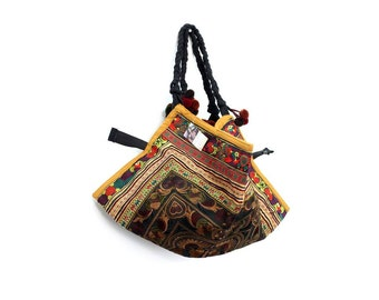 Shoulder Bag Pom Pom Strap Mocha Birds HMONG Embroidery Thailand  (BG007W-MOB)