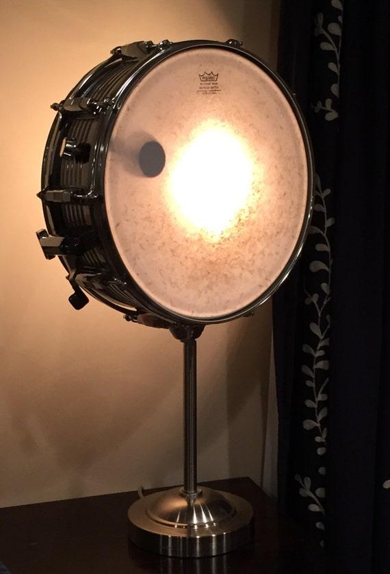 vintage snare drum table lamp musicians lighting by litforaqueen. Black Bedroom Furniture Sets. Home Design Ideas