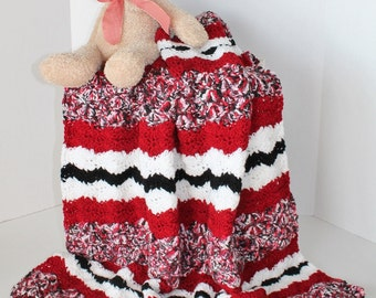 Baby Blanket-  Crib Afghan - Lapaghan Baby Throw - Red, White, and Black