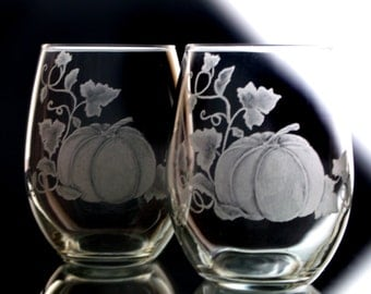Pumpkin stemless Wine Glasses  , Thanksgiving harvest Table Stemless Wine Glass  engraved  set of two , autumn wine glasses