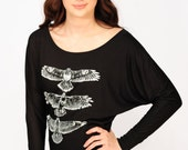 Hawk Totem long sleeve slouchy dolman black and white