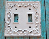 Shabby Chic Creamy White Cast Iron Double Light Switch Cover  - Darling addition to your cottage, farmhouse or shabby chic décor!