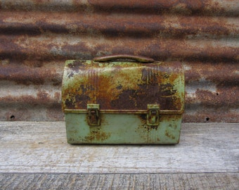 Vintage1940s Metal Lunch Box  Rusty Green Rusted Chippy Paint Distressed Miners Coal Miner Mining or Factory Worker Lunch Box Industrial