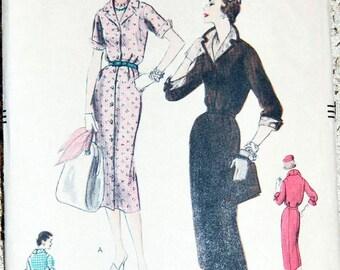 """Vintage 1950s Vogue Misses'/Women's Dress Pattern 8795 Size 14 (32"""" Bust)"""