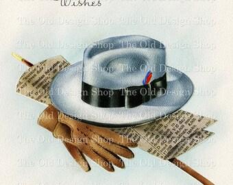 Printable VINTAGE MASCULINE Hat Gloves Newspaper Color Illustration 300 dpi Digital Scan Vintage Image Antique Clip Art