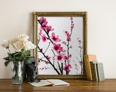 Cherry Blossoms Printable Nature Watercolour Wall Art 8.5 x 11 Tree Instant Download Digital Print Your Own File DIY