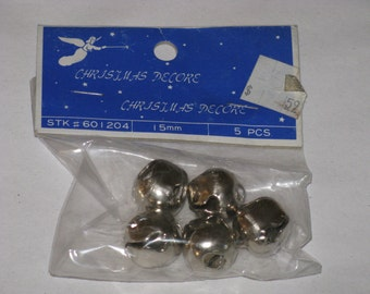 """Vintage Jingle BELLS 5/8"""" Metal Silver 5 pcs in Package Christmas Decore New Old Stock"""