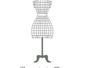 Instant download embroidery design sewing mannequin Paris