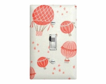 Hot Air Balloon Nursery Decor / Coral Pink Cream Light Switch Plate Cover / Baby Girl Nursery Decor Lighting