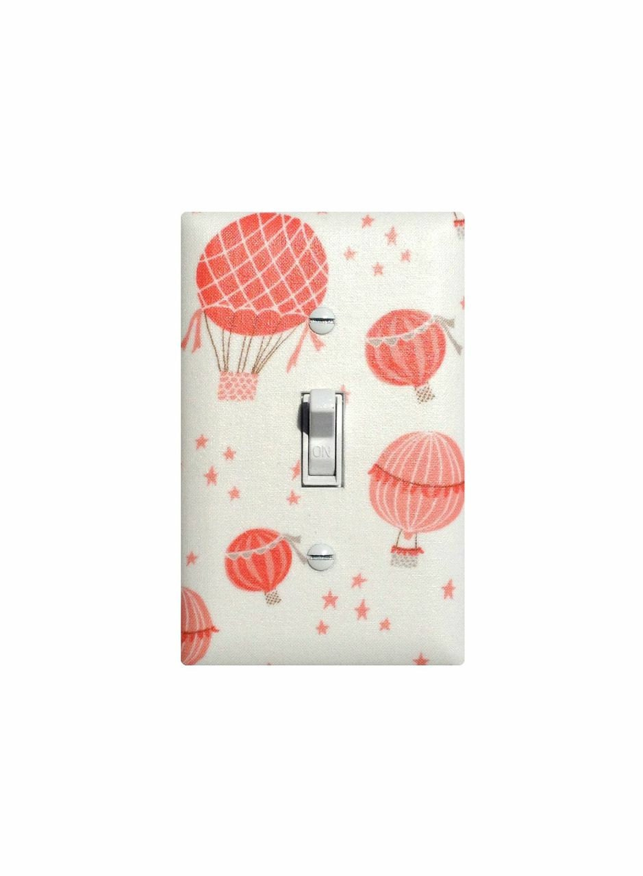 Hot Air Balloon Nursery Decor Coral Pink Cream Light Switch