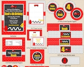 Firetruck Party Printables - Fireman Birthday - Firefghter Party Printables - Printable Party Set - Red Firetruck Party Decor
