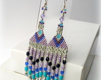 Modern Native American Indian Silver, Turquoise & Lilac Seed Bead Earrings; Beaded Fringe With Chalk Turquoise Gem Beads