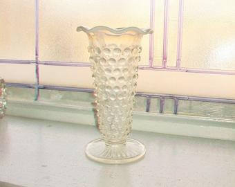 Moonstone Trumpet Vase Vintage Anchor Hocking Glass Opalescent Hobnail 1940s