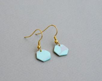 Mint  Earrings, Tiny earrings, Geometric earrings, Hexagon Earrings