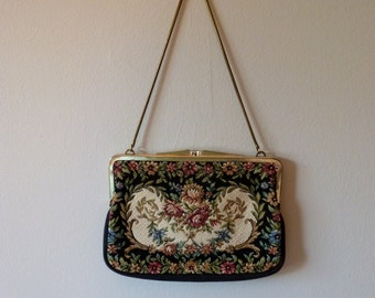 70's Tapestry Purse Woven Floral Convertible Mini Clutch Handbag