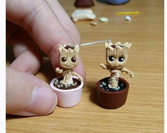 Miniature Baby Groot Figurine (Comes with a Free small Acrylic Display Box)