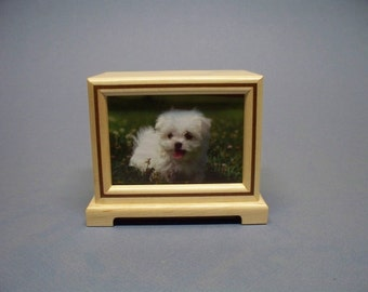 Wooden Pet Photo Urn - 50 c. i. with Lacquer Finish, Wooden Urn, Wood Cremation Urn, Unique Wood Urn.