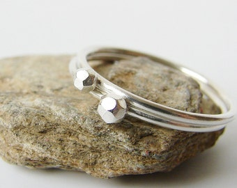 Skinny silver stacking rings. Tiny faceted geo rings. Dainty silver jewelry.