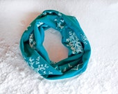Snowflake Scarf, Kids Infinity Scarf, Teal Turquoise Snowflakes Winter Wonderland Snow Flake Winter Blue Gift for Kids Blue Printed
