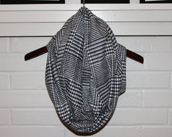 Black and White Houdstooth Infinity Scarf - Flannel scarf, Houdstooth scarf, trendy, basic, plaid scarf, christmas, gift
