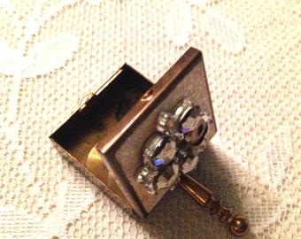 Vintage Brass Pill Box With Rhinestones