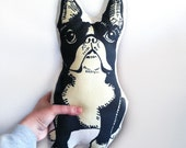 boston terrier pillow, stuffed animal for dog lovers