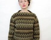 Vintage Zig Zag Pattern Eart Tones Knit Sweater
