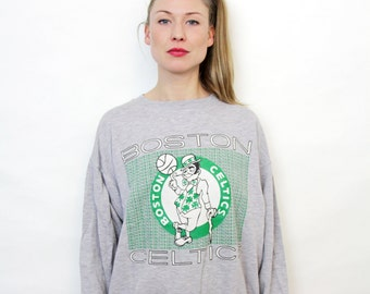 Vintage Grey St Patrics Boston Celtics Basketball Crew Sweatshirt