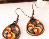 Folk Earrings, BOHO EARRINGS, Bohemian Earrings, Spanish Jewelry, Spanish Inspired, Drop Glass Earrings, Gift For Her, Christmas Gift