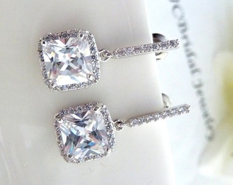 Wedding Earrings Bridal Earrings- AAA Halo Clear White Small Square Cubic Zirconia (Not Foiled Back) with White Gold Plated CZ Earings