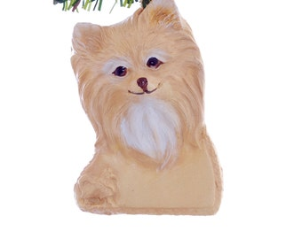 Personalized Pomeranian Christmas Ornament - golden and white pomeranian ornament personalized with a name of your choice (d283)