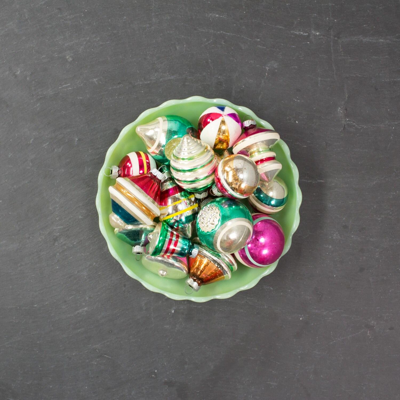 Shiny Brite Ornament Set Striped Christmas Ornaments Mid