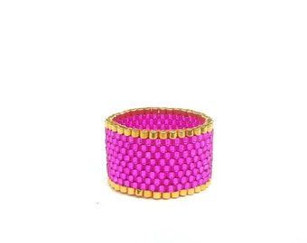 Metallic Pink Ring, Seed Beaded Ring, Gold Bead Ring, Hot Pink Jewellery, UK Seller