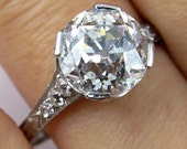 3.62ct  Old European Cut Diamond Circa 1920 Art Deco Original Diamond Engagement ring in Platinum, EGL USA