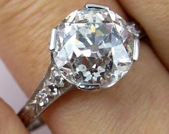 3.62ct  Old European Cut Diamond Circa 1920 Art Deco Original Diamond Engagement ring in Platinum, EGL USA