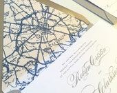 Traditional Wedding Invitation - Map Wedding Invitation, Envelope Liner, Simple, Elegant Wedding Invitation, Formal, Letterpress - CLASSIC