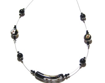 Murano Glass Black Gold Silver Tube Necklace, Venetian Jewelry, Illusion Necklace, Italian Jewelry, Gifts For Her, Lampwork Glass Jewelry