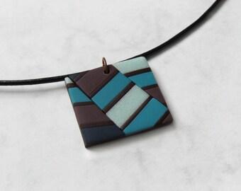 Optical illusion pendant, Polymer clay pendant, Geometric pendant, Striped pendant, Geometric jewelry, Striped jewelry, Square pendant