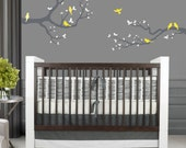 Branch with Birds Decal, REUSABLE Fabric Decal, Nontoxic PVC free Ecofriendly Decal, 690