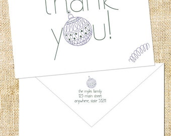 Christmas Ornament Thank You Note Cards