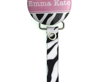 Personalized Name Black & White Zebra  Pacifier Clip (PER57)