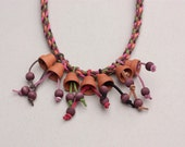 Braided leather necklace with flowerpot clay (terracotta) and wood beads, mixed media jewelry, OOAK