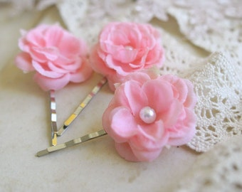 Pink Rose Hair Pins Pink Hair Flowers, Pink Hair Clips, Rose Hair Pins, Bridesmaids Wedding Accessories, Bridal Hair Pins, Romantic, Pearls