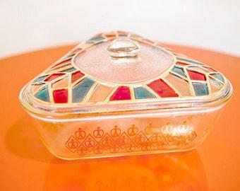 Mid Century Triangular Glass Bowl