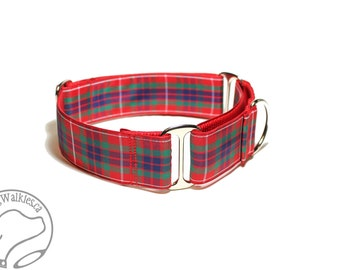 "Fraser Clan Tartan Dog Collar - 1.5""(38mm) Wide - Outlander Tartan - Red Plaid - Martingale or Side Release -Choice of collar style and size"