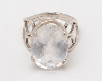 Handcrafted Size 6 1/2 Ring Of White Topaz Set In Sterling Silver, USA